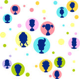 Men, women, child, relationship colorful avatar bubble set Stock Photo