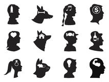 Men, women ,children and pets thoughts in head. Isolated people and pets head with icons on white background royalty free illustration