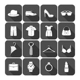 Men and women clothes accessories icons Stock Photos