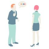 Men and Women Communicate. Flat design, pastel colors Stock Photography