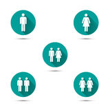 Men and women couples symbols. Simple icons with long shadow. Royalty Free Stock Photos