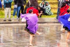 Men And Women Dancers Celebrating Inti Raymi Royalty Free Stock Image