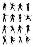 Men and women dancing Zumba. Set of 16 energetic silhouettes of men and women dancing Zumba Royalty Free Stock Photos