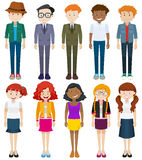 Men and women in different costumes Royalty Free Stock Photos