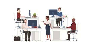 Men and women dressed in smart clothes working on computers. Male and female office workers sitting at desks or standing. And drinking coffee. Flat cartoon Royalty Free Stock Photo