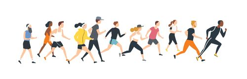 Men and women dressed in sports clothes running marathon race. Participants of athletics event trying to outrun each. Other. Flat cartoon characters isolated on royalty free illustration