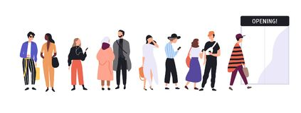 Men and women dressed in trendy clothes standing in line or queue in front of shop entrance doors. Stylish people. Waiting for store, boutique or showroom royalty free illustration