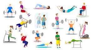 men and women are engaged weightlifting in the gym stock illustration
