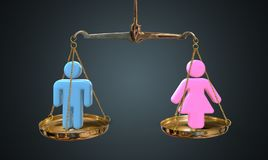 Men and women equality concept. Scales are comparing men and women.  royalty free stock photos