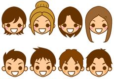 Men and women face. This is an illustration of the face of males and females Stock Photo