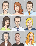 Men and women faces vector collection Stock Image