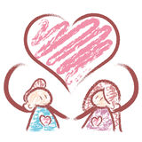 Men and women fall in love. A family Character Design Series. Royalty Free Stock Photos