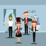 Men and women in formal clothes celebrating christmas with champagne and everyone with christmas hats on colorful scene. In home vector illustration Stock Photo