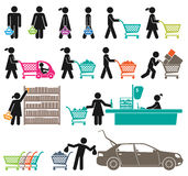 MEN AND WOMEN GO SHOPPING Stock Image