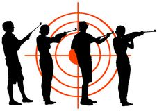 Men and women with guns Royalty Free Stock Image