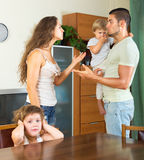Men and women having conflict. Men and women having  conflict in the presence of children Stock Photography