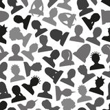 Men and women head simple avatar icons seamless pattern eps10 Stock Photo