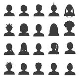 Men and women head simple avatar icons set  eps10 Royalty Free Stock Image