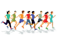 Men and women jogging Royalty Free Stock Images