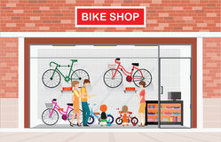 Men and women with kids buying bicycle. Men and women with kids buying bicycle at bike shops, shop vector illustration royalty free illustration