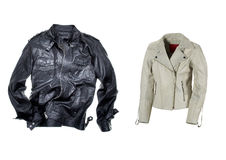 Men & Women leather jackets Stock Image