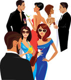 Men and women at the party, group of people with cocktail glass in their hands. Vector illustration of men and women at the party, group of people with cocktail Royalty Free Stock Photos