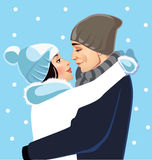 Men and women in profile in winter hats Stock Images