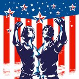 American Men and Women protest fist revolution poster propaganda design Stock Images