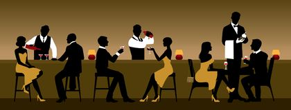 Men and women rest in a nightclub near the bar counter stock images