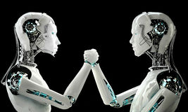 Men and women robot Stock Image