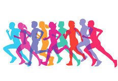 Men and Women Runners or Joggers. Group of colorful men and women runners or joggers vector illustration