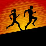 Men and Women Running Silhouette. Vector Royalty Free Stock Image