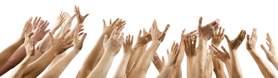 Men and women's hands up raised Royalty Free Stock Images