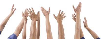 Men and women's hands up raised Stock Photography