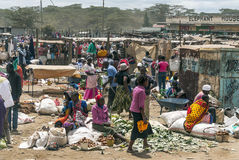Men and women shoping. In a market of Kenia, the picture it´s taken at may 2014 Royalty Free Stock Images