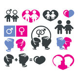 Men and women sign icons. Authors illustration in vector Stock Photos