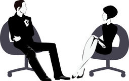 Men and women sitting on chair Stock Photos