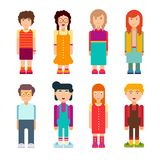 Colorful set of characters in flat design. Men and women standing on white background. Cute geometric flat style. Vector illustration Stock Illustration