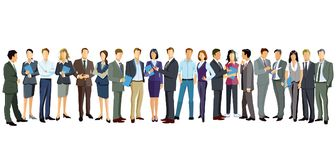 Men and women standing on white. Illustration of men and women in professional attire standing in line on white Royalty Free Stock Photo
