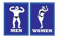 Men women toilet signs Stock Photos