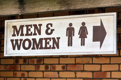 Men and Women toilets. Men and Womae toilet sign and symbol, concept photo . copy space Stock Image