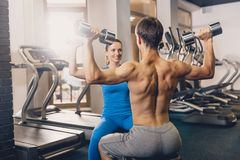 A man and a woman are training with dumbbells. stock photos