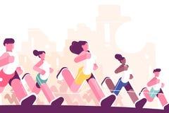 Men and women training to marathon in park royalty free illustration
