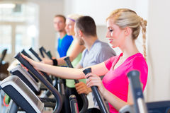 Men and women on treadmill in gym Royalty Free Stock Photos