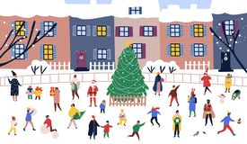Men and women walking around big Christmas tree on street against city buildings on background. Adults and children. Performing outdoor activities on town royalty free illustration