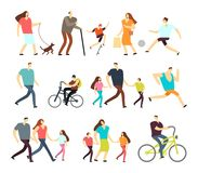Men and women walking outdoor. Vector cartoon active characters in various lifestyles in street. Woman and man walk with family illustration Stock Images