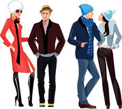 Men and women in winter clothes Royalty Free Stock Image