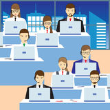 Men and women working in a call center. Support service. Stock Image