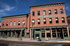 New Sheridan Hotel. Men at work, an artist and window cleaners outside the New Sheridan Hotel in Telluride stock image