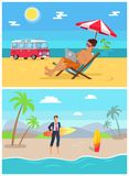 Men with Work as Freelancers on Sandy Beaches Set. Man in suit with surfboard and guy in trunks with laptop on tropical beach vector illustrations vector illustration